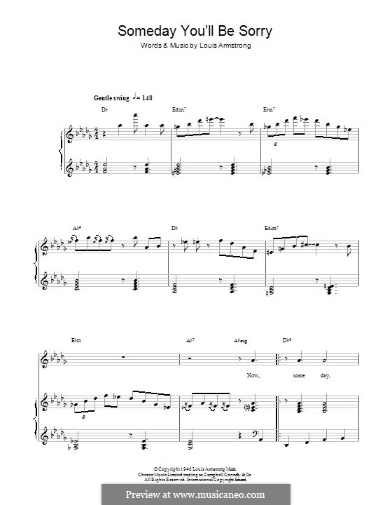 Guitar guitar chords sorry : Someday (You'll Be Sorry) by L. Armstrong - sheet music on MusicaNeo