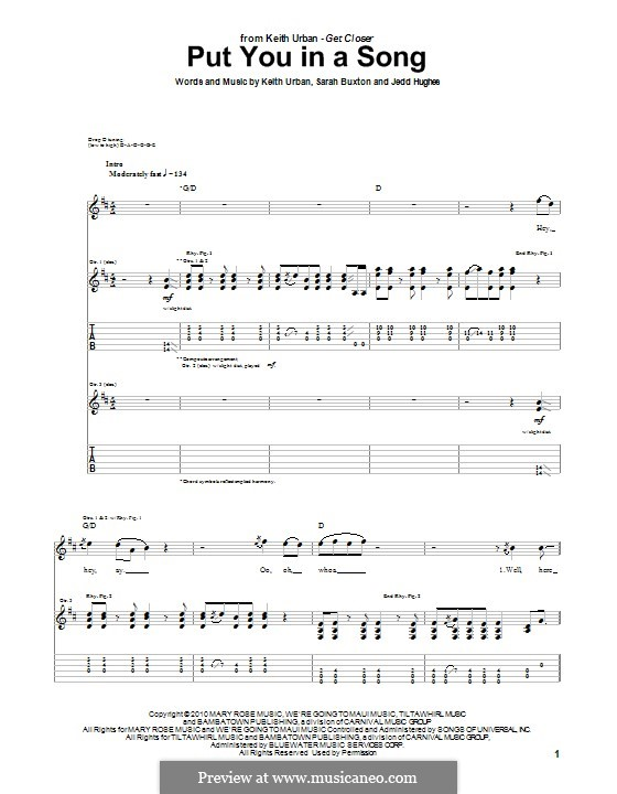 Put You in a Song (Keith Urban): For guitar with tab by Jedd Hughes, Sarah Buxton
