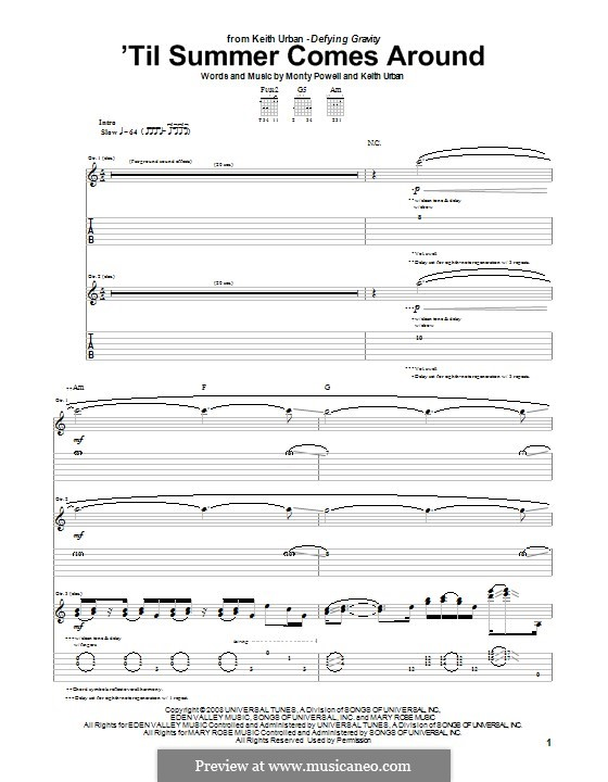 'Til Summer Comes Around (Keith Urban): For guitar with tab by Monty Powell