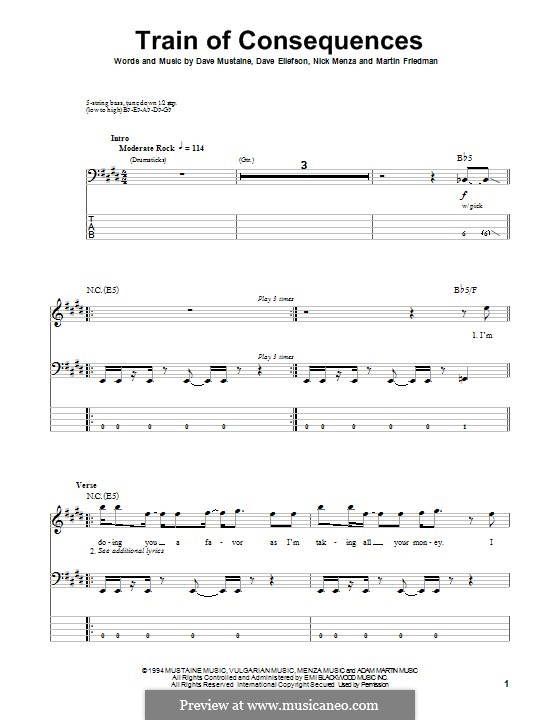 Train of Consequences (Megadeth): For bass guitar with tab by Dave Ellefson, Dave Mustaine, Martin Friedman, Nick Menza