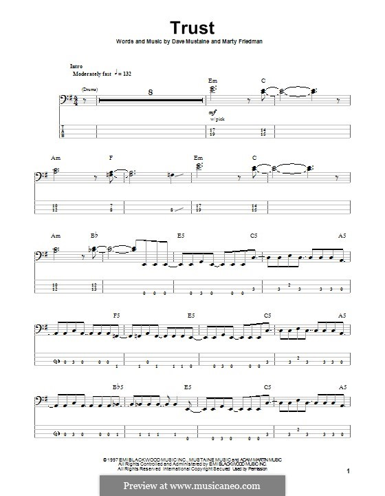 Trust (Megadeth): For bass guitar with tab by Dave Mustaine, Martin Friedman