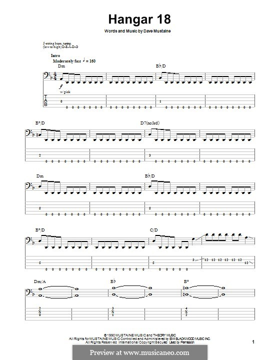 Hangar 18 (Megadeth): For bass guitar with tab by Dave Mustaine