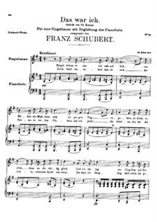 Das war ich (That was I), D.174: G Major by Franz Schubert