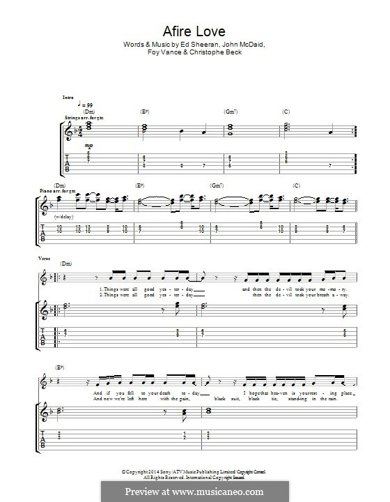 Afire Love: For guitar with tab by Ed Sheeran, Christophe Beck, John McDaid, Foy Vance
