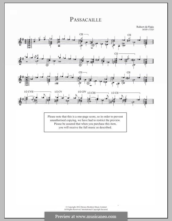 Passacaglia in E Minor: For guitar by Robert de Visée
