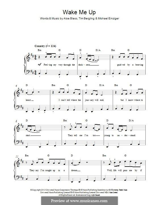 Wake Me Up: For piano by Aloe Blacc, Michael Einziger, Avicii, Arash Andreas Pournouri