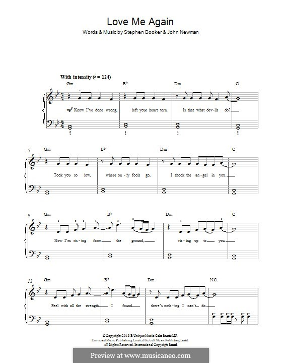 Love Me Again: For piano by Steve Booker, John Newman