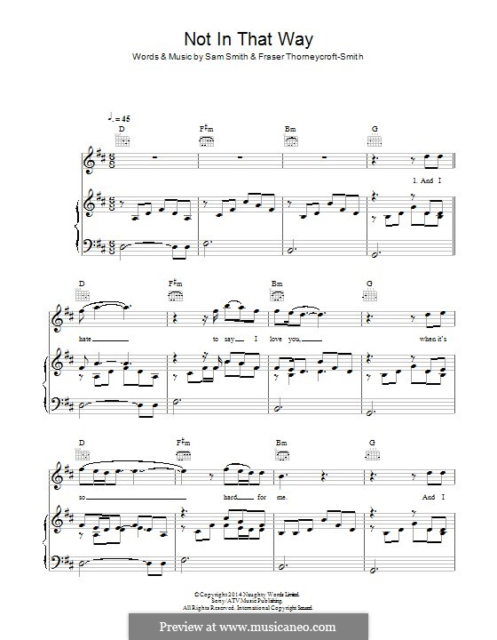 Not in That Way: For voice and piano (or guitar) by Fraser Thorneycroft-Smith, Samuel Smith