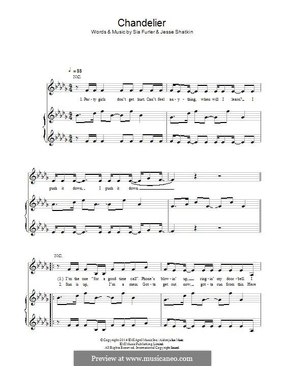 Chandelier (Sia) by S. Furler, J. Shatkin - sheet music on MusicaNeo