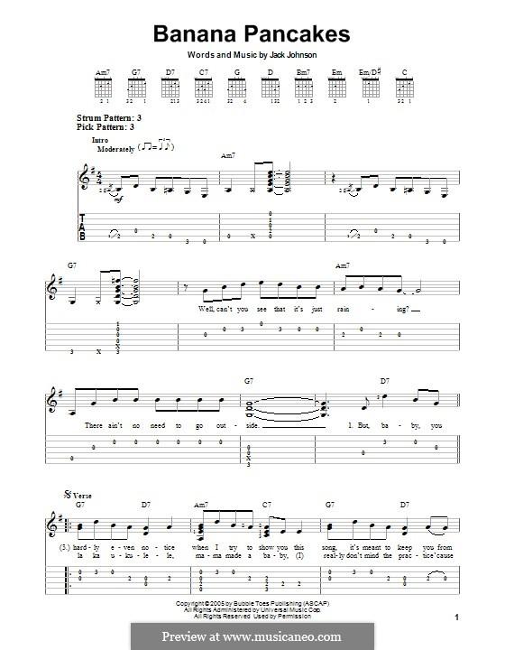 Banana Pancakes By J Johnson Sheet Music On Musicaneo