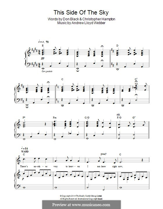 This Side of the Sky (from 'Stpehen Ward'): For voice and piano by Andrew Lloyd Webber