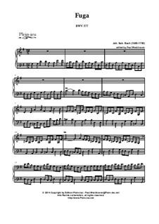 Fugue in G Major 'À la Gigue', BWV 577: For organ by Johann Sebastian Bach