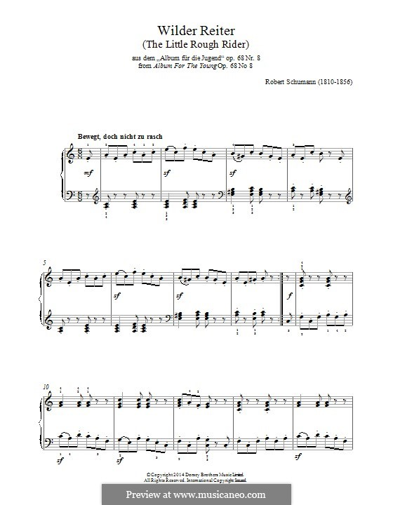 No.8 Wilder Reiter (The Wild Horseman): For piano by Robert Schumann