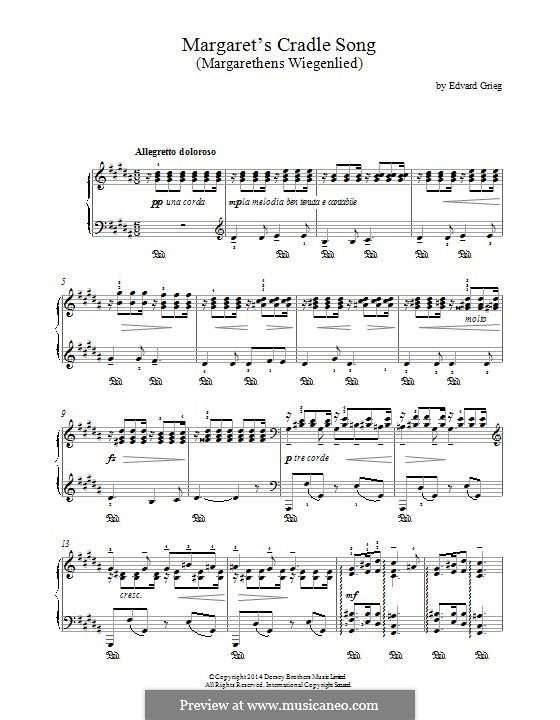 Four Romances, Op.15: No.1 Margaret's Cradle Song, for piano by Edvard Grieg