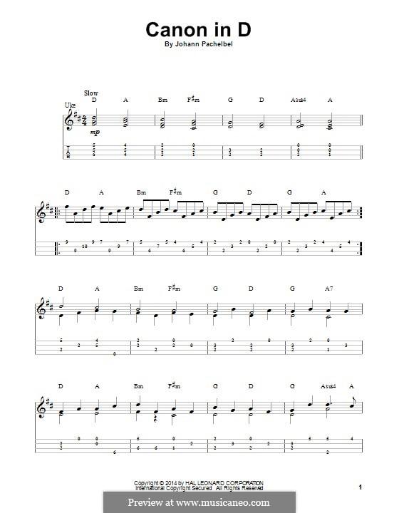 Canon in D Major (Printable): For ukulele by Johann Pachelbel