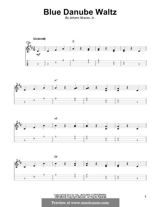 On the Beautiful Blue Danube, Op.314: For ukulele by Johann Strauss (Sohn)