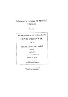 Variations on an Original Theme, Op.15: Solo part, Score for two performers by Henryk Wieniawski