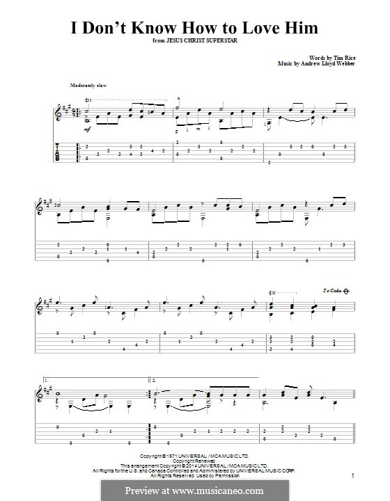 I Don't Know How to Love Him: For guitar with tab by Andrew Lloyd Webber