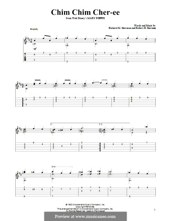Chim Chim Cher-ee (from Mary Poppins): For guitar with tab by Richard M. Sherman, Robert B. Sherman