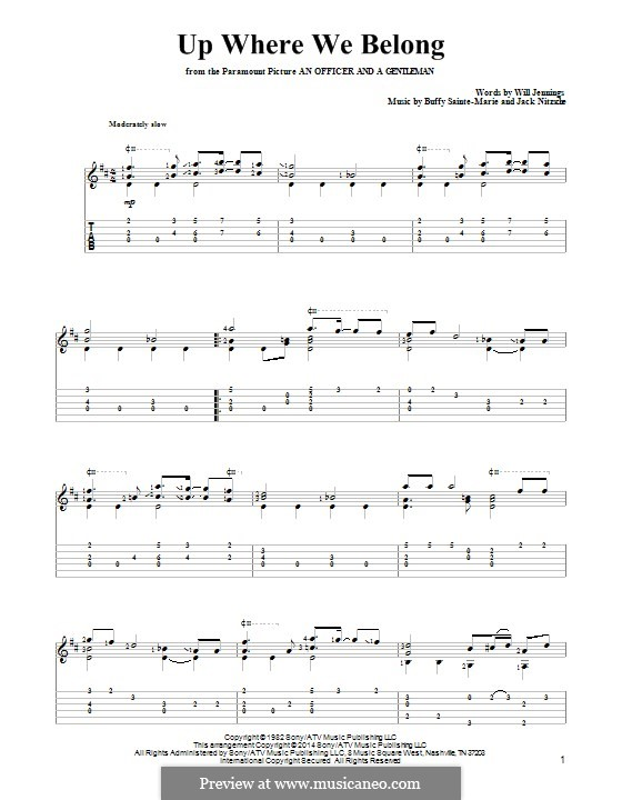 Up Where We Belong (Joe Cocker and Jennifer Warnes): For guitar with tab by Buffy Sainte-Marie, Jack Nitzsche, Will Jennings