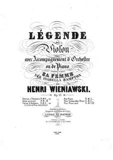 Legend for Violin and Piano, Op.17: Score by Henryk Wieniawski