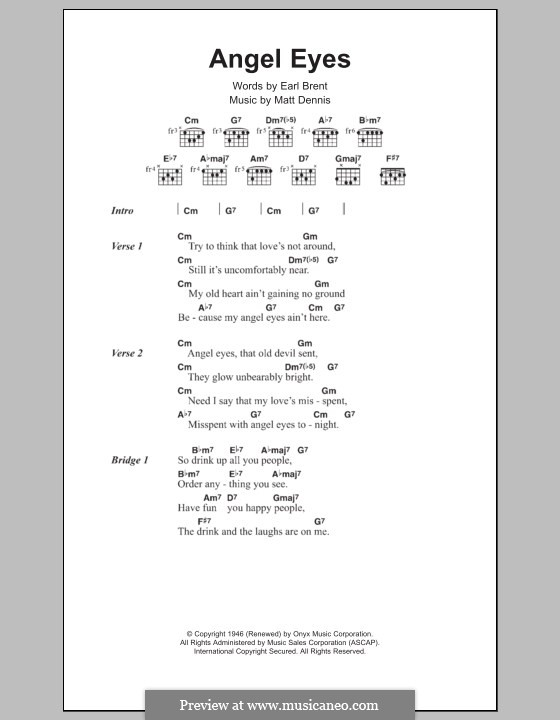 Angel Eyes (Frank Sinatra): Lyrics and chords by Matt Dennis