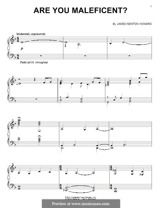 Are You Maleficent?: For piano by James Newton Howard