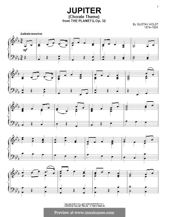 Jupiter: Chorale theme, for piano by Gustav Holst