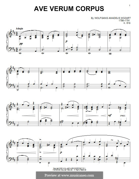 Ave verum corpus, K.618: For piano by Wolfgang Amadeus Mozart
