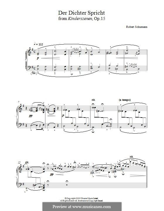 No.13 Der Dichter spricht (The Poet Speaks): For piano by Robert Schumann