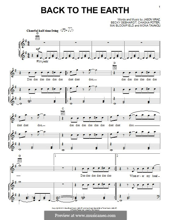 Back to the Earth: For voice and piano (or guitar) by Chaska Potter, Jason Mraz, Mai Bloomfield, Mona Tavakoli, Becky Gebhardt