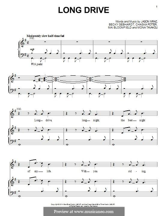 Long Drive: For voice and piano (or guitar) by Chaska Potter, Jason Mraz, Mai Bloomfield, Mona Tavakoli, Becky Gebhardt