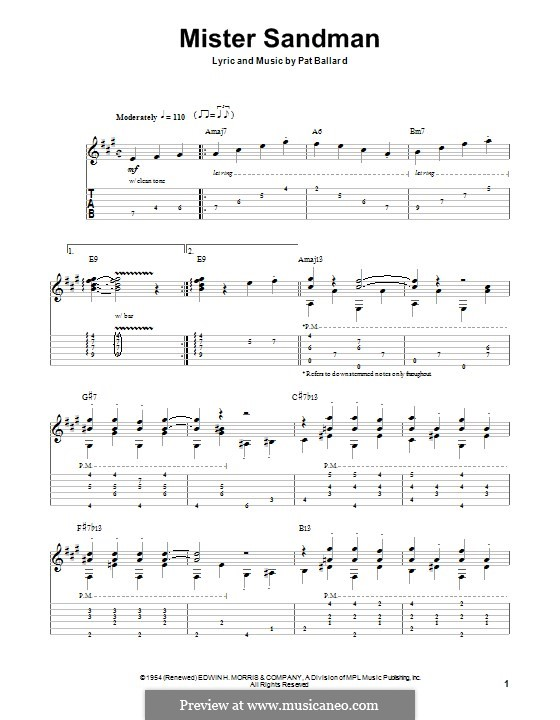 Mister Sandman (The Chordettes): For guitar with tab by Pat Ballard