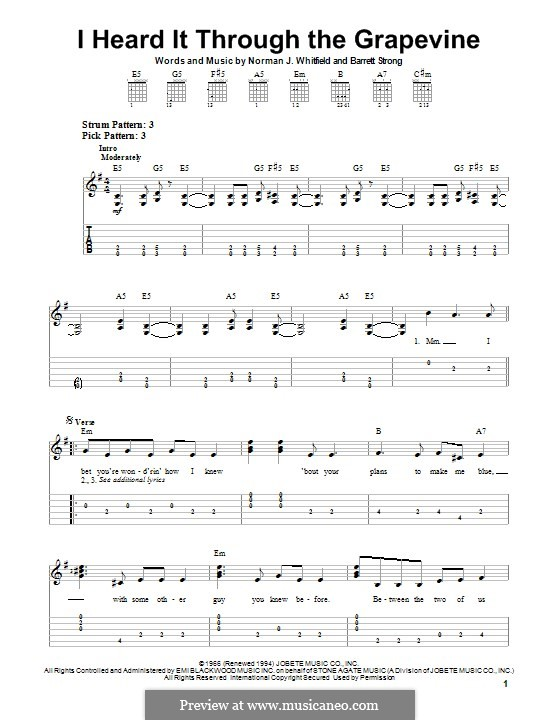 I Heard it Through the Grapevine: For guitar with tab by Barrett Strong, Norman J. Whitfield