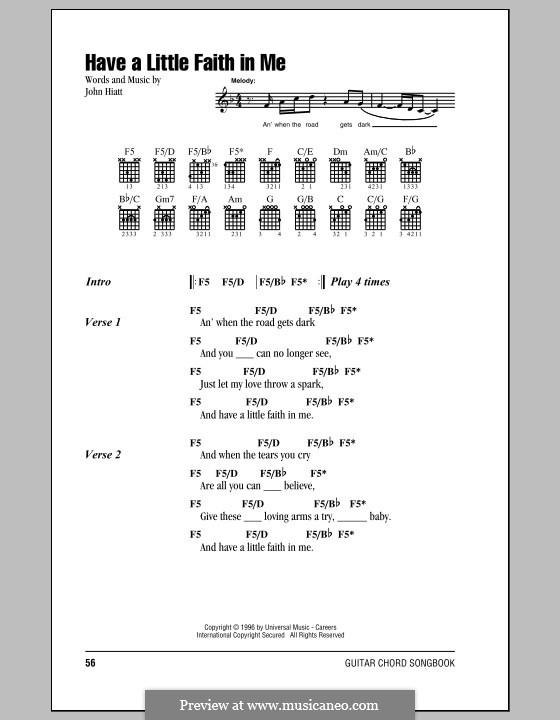 Have a Little Faith in Me: Lyrics and chords by John Hiatt