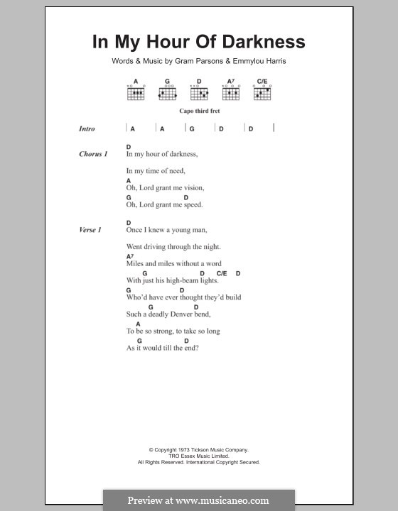 In My Hour of Darkness: Lyrics and chords by Gram Parsons