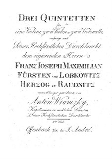 Three String Quintets, Op.8: Violin part by Anton Wranitzky