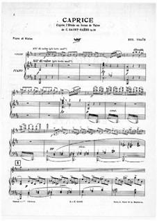 Caprice d'après l'Etude en forme de Valse de C. Saint-Saëns for Violin and Piano, Op.52 No.6: Score by Eugène Ysaÿe