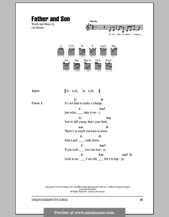 Father and Son (Boyzone) by C. Stevens - sheet music on MusicaNeo