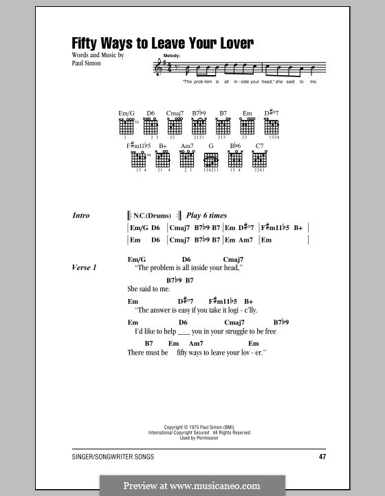 Fifty Ways to Leave Your Lover: Lyrics and chords by Paul Simon