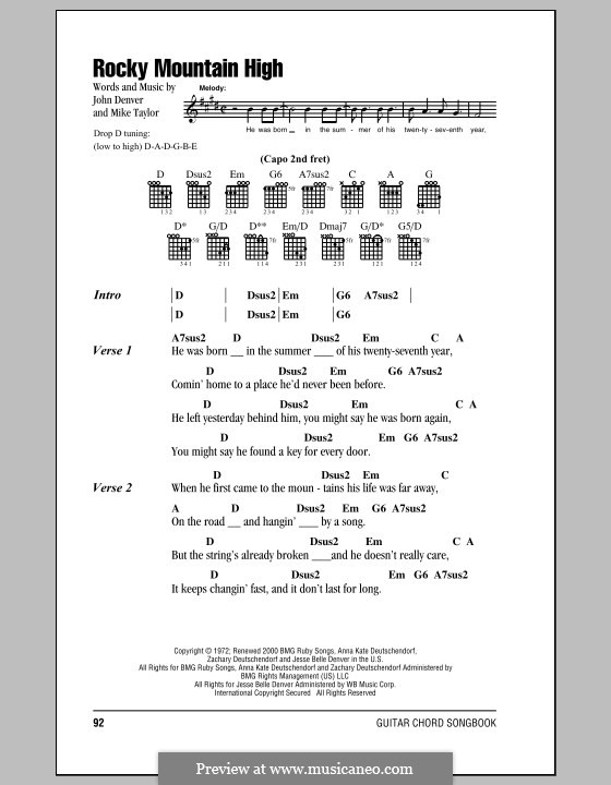 Rocky Mountain High by J. Denver, M. Taylor - sheet music on MusicaNeo