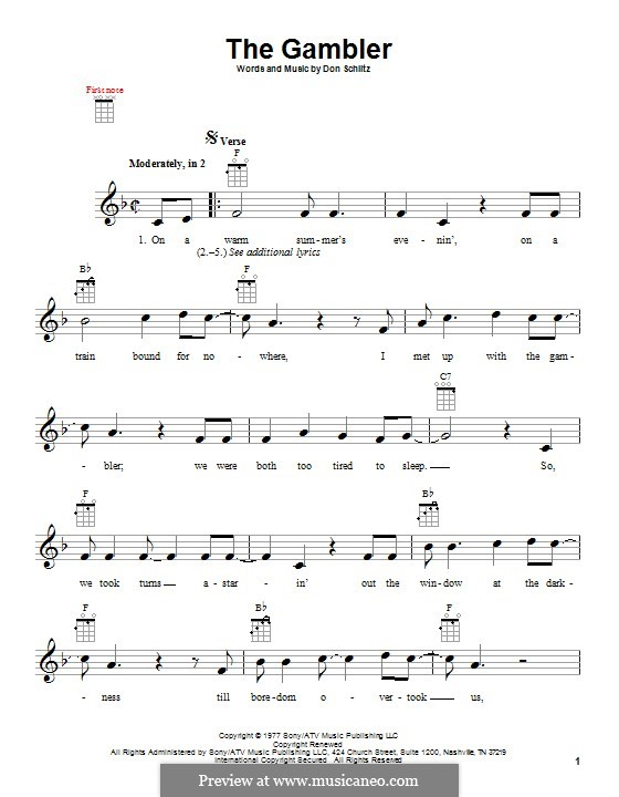The Gambler (Kenny Rogers): For ukulele by Don Schlitz