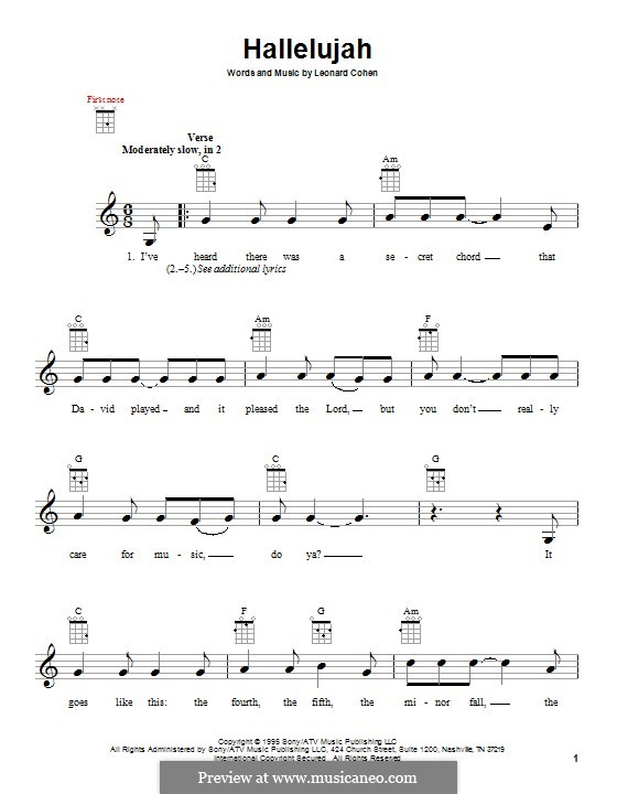 Hallelujah By L Cohen Sheet Music On Musicaneo