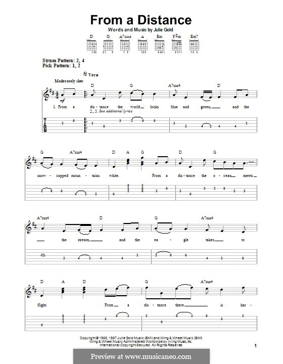 From a Distance: For guitar with tab by Julie Gold