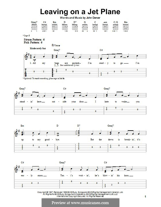 Leaving on a Jet Plane by J. Denver - sheet music on MusicaNeo