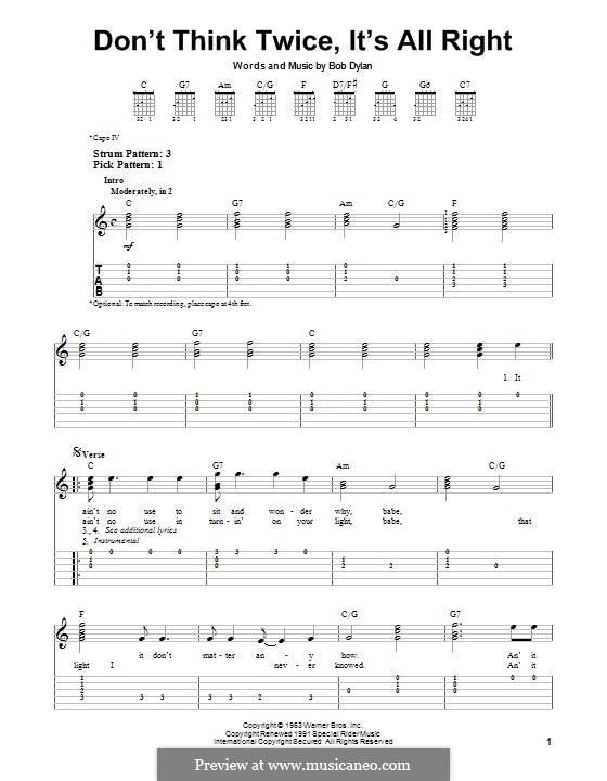 Don't Think Twice, It's Alright: For guitar with tab by Bob Dylan