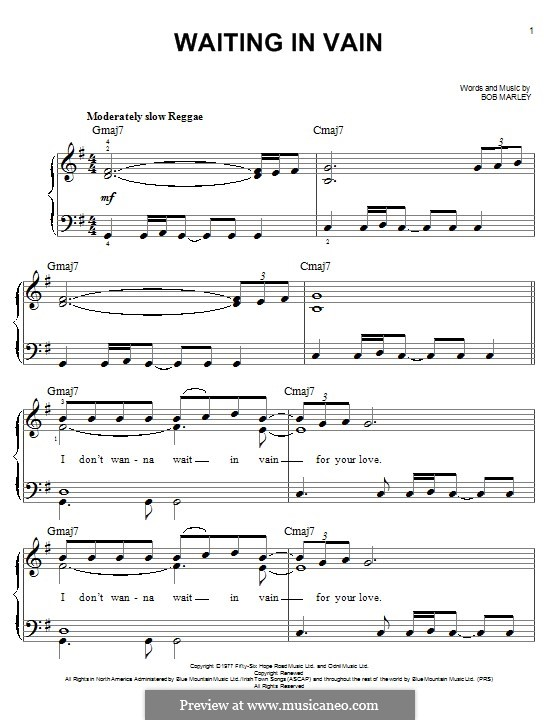 Waiting in Vain: For piano by Bob Marley