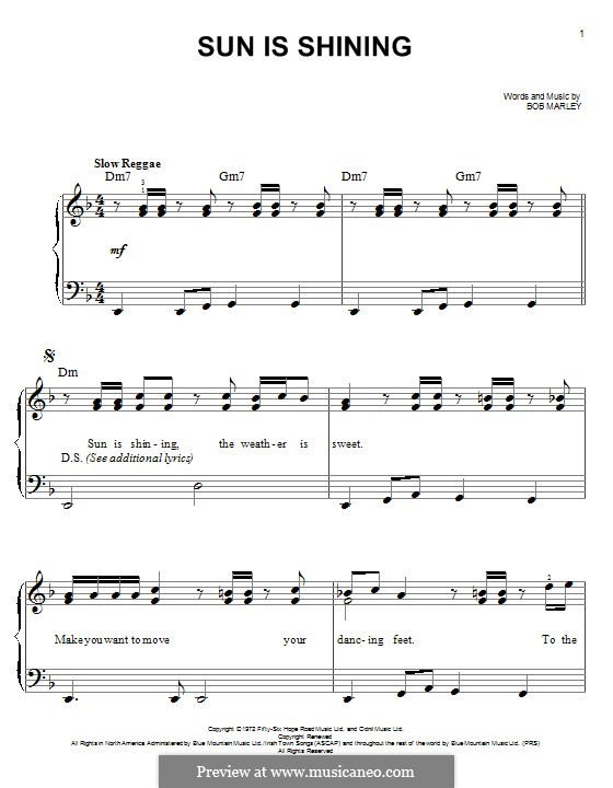 Sun Is Shining: For piano by Bob Marley