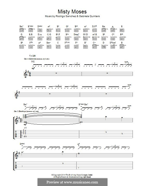 Misty Moses: For guitar with tab by Gabriela Quintero, Rodrigo Sánchez
