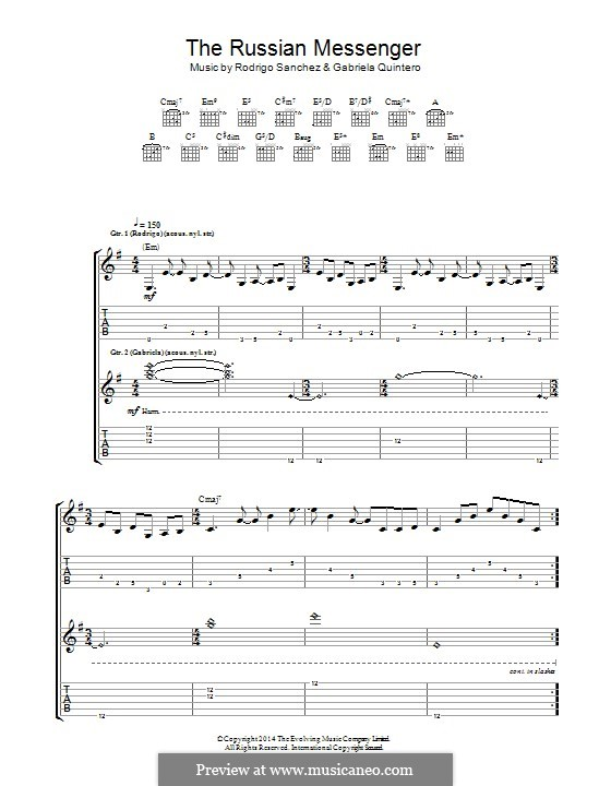 The Russian Messenger: For guitar with tab by Gabriela Quintero, Rodrigo Sánchez
